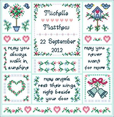 Wedding Angels Cross Stitch Pattern wedding