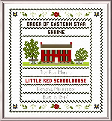 cross stitch pattern Little Red Schoolhouse