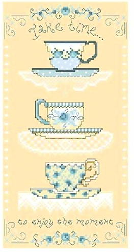 cross stitch pattern Blue  White Teacups