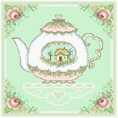 cross stitch pattern Grandmother's Teapot
