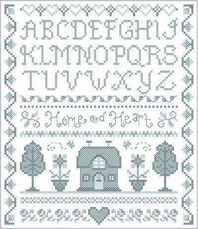 cross stitch pattern Home and Heart Delft Sampler