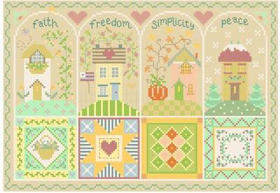 cross stitch pattern Quilted Shaker Seasons