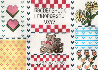 cross stitch pattern Teddy Bear Sampler Picture